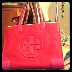 Tory Burch red nylon tote